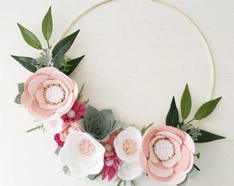 Rifle Paper Co Inspired Wreath || Felt Wreath || Wreaths || Flower Wreath || Spring Wreath || Felt Flower Wreath || Pink Wreath