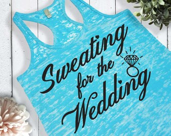 Sweating For The Wedding Womens Workout Tank Top Neon Pink Neon Blue Bride To Be Fiance Bridal Shower Bridesmaid Gift