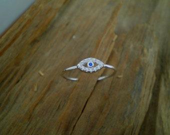 Evil eye ring,evil eye jewelry,evil eye silver, stacking ring, minimal ring