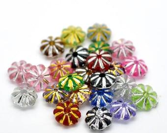 100 beads acrylic flower flat shape