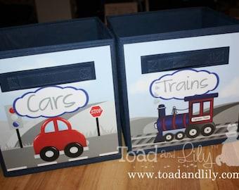 Set of 2 Transportation Car Trains Fabric Bins Girl's Bedroom Baby Nursery Organizer for Toys or Clothing 2FB017