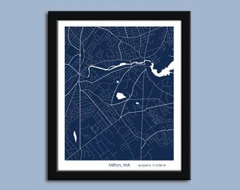 Milton map, Milton city map art, Milton wall art poster, Milton decorative map