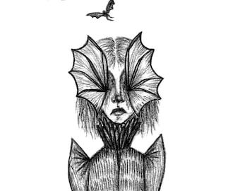 Lady of The Dark Night - 5x7 inch Gothic Art Print - Bat Lady