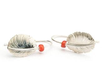 Sterling Silver Feather Earring | Mini Feather Jewelry | Fluffy Earring | Tribal Earring |Feather Dangle Earring |Boho Earring |Gift For Her