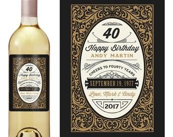 Any Age - Birthday Gift - Custom Wine Label - 40th birthday - Birthday Whiskey Labels - Dirty 30 Thirty - 21st Birthday - Scotch Label