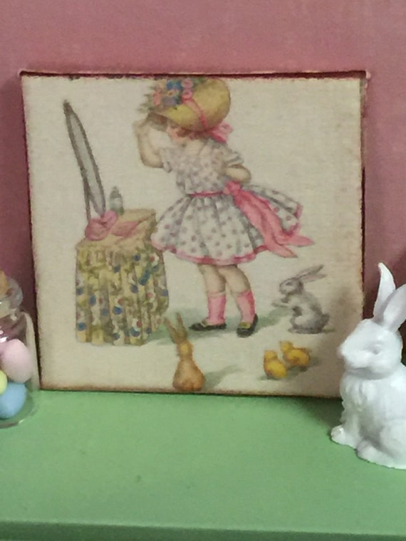 "Vintage Easter Girl Canvas Picture - 2"" x 2"""