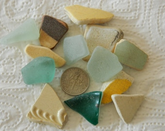 Pretty sea pottery and sea glass mix in greens, yellows, beige, brown for crafts
