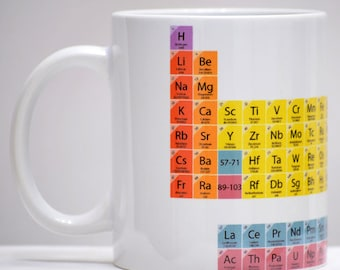 White Ceramic Mug Periodic table