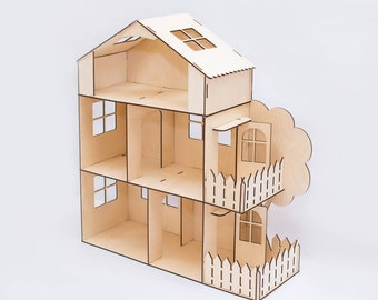 Three-story Dollhouse with terrace,Dollhouse kits,wooden dollhouse,barbie dollhouse,Miniature dollhouse,Miniature House, 1:6 scale dollhouse
