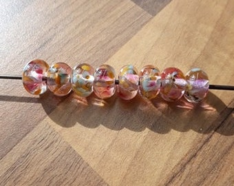 Watercolour flowers - lampwork bead set