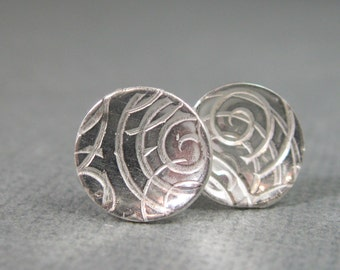 Patterned sterling round studs, silver post disc earrings, artisan pattern concave post disc earrings