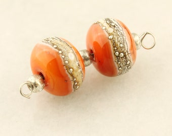 Lampwork Glass Bead Set  Earring Pair, Orange and Silver