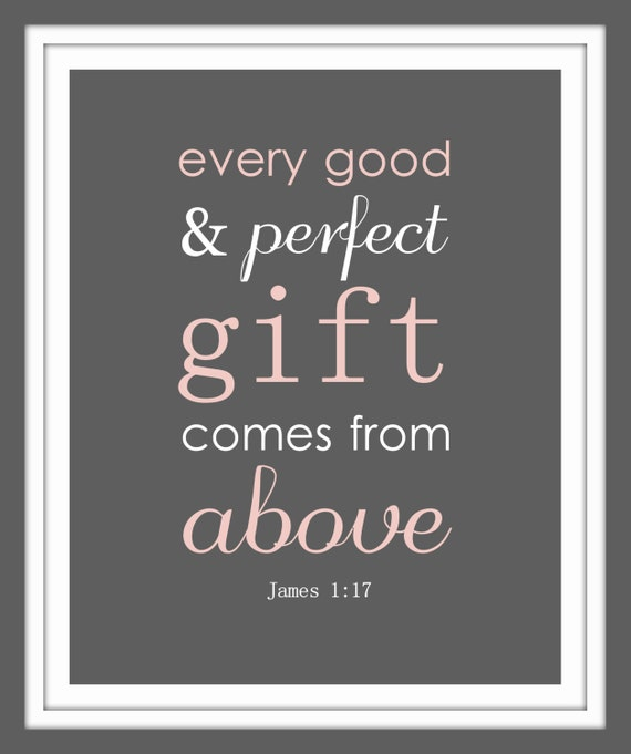 James 1:17 Bible Verse Print GIRL. Every Good And Perfect Gift