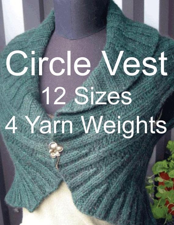 Circle Vest Knitting Pattern 12 Sizes 4 Yarn Weights