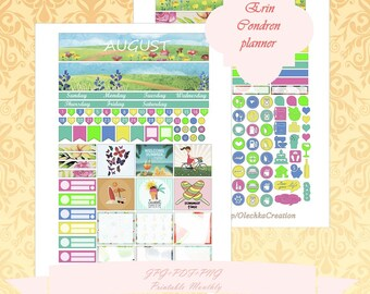 Printable Erin Condren Horizontal August planner Monthly Instant Download Monthly With Cut Files ECLP AUGUST