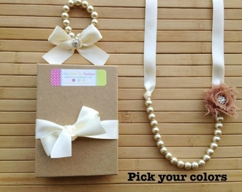 Sparkly custom pearl, ribbon and shabby chic flower necklace and bracelet set, birthday gift, flower girl gift, toddler jewelry, photo prop