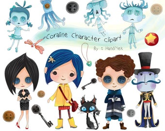 Cute Coraline character clipart instant download PNG file - 300 dpi.