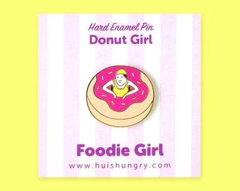 Donut Girl Enamel Pin, Emoticon, Hard Enamel Pin, Girl Boss Pin, Cute Kawaii Pin, Strawberry Pastry, Foodie Pin, Hungry Gift, BFF Pin