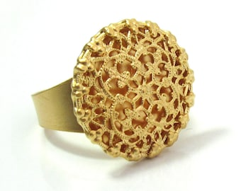 Gold Lace Ring -Gold Circle Ring -  Round Ring - Adjustable Ring - Romantic Jewelry - Filigree Ring
