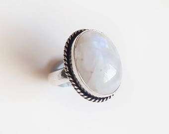 Cloudy Rainbow Moonstone ring 925 size 8.5 crystal jewellery gemstone