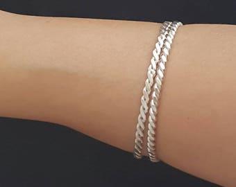 Set of 2 Handmade Sterling Silver Bangle Bracelets