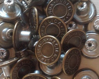 Copper Jean Buttons and Fasteners (x 10 pack)