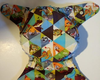 SassyCloth one size pocket diaper with lion guard cotton print. Ready to ship.