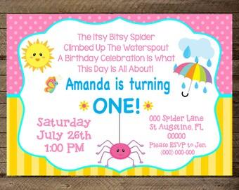 Transportation invite transportation birthday party itsy bitsy spider birthday theme itsy bitty spider invite itsy bitsy first birthday filmwisefo Choice Image
