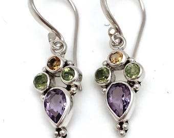 Sterling Silver Dangle Earrings with Semi-precious Stones