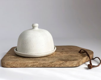 Stoneware ceramic butter dish with lid, pottery lidded butter keeper, crock, handmade, gift, present, Rebecca Williams Ceramics, British