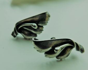Vintage Sterling Silver Flower Floral Earrings Screwback