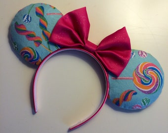 Sugar Rush Candy Lollipop Sweets Themed Mickey Minnie Mouse Ears Wreck It Ralph Venelope Head Band Headband