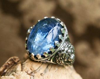 Majesty Mens Sterling Silver Ring, Unisex Kyanite Ring MADE TO ORDER, mens gemstone ring, mens jewelry,mens kyanite ring