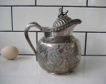 BOGO 40% OFF // Antique Silver Pitcher - Shell Coral Lid Handle - Engraved Florals & 'To Bertha From Maggie 1891' - Quadruple Plate Toronto