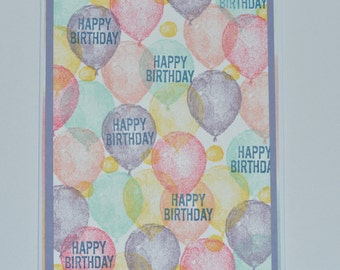 Hand Stamped Balloon Bunches Birthday Card
