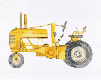 Antique Farm Tractor Unframed Watercolor Art Print