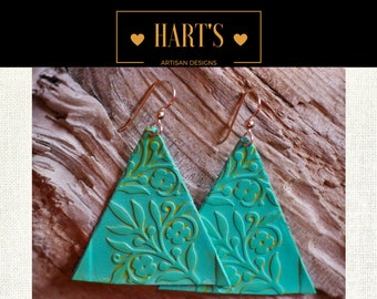 14K Gold Turquoise Leather Earrings Boho