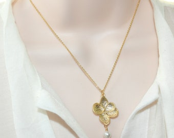 Gold Orchid Necklace, Gold Jewelry, Wedding Jewelry