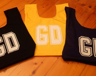 GD netball bib bag reversible - unique netball team gift, gift for mum or bridesmaid - sport bag, book bag, market bag – custom available