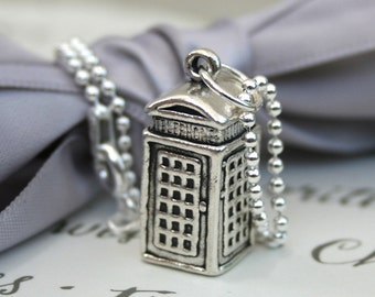 Telephone Booth Necklace Sterling silver 3-D phone booth