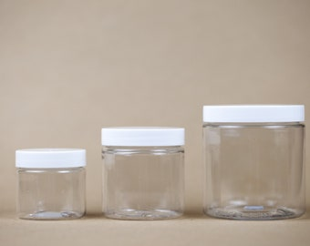 2oz, 4oz, 8oz Clear Plastic Containers for Slime, Craft Storage, Jar, BPA Free