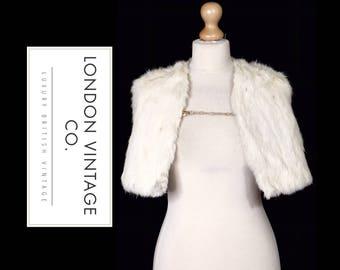 Vintage 1950's white real rabbit/ermine fur shoulder cape/stole/wrap/shawl.Vintage bride/winter wedding/vintage wedding/ww2/goodwood