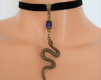 snake choker, black velvet choker, serpent necklace, stretch ribbon, snake necklace, blue bead