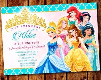 Princess Party Invitation Disney 1st Birthday 2nd 3rd 4th 5th Invite Printable