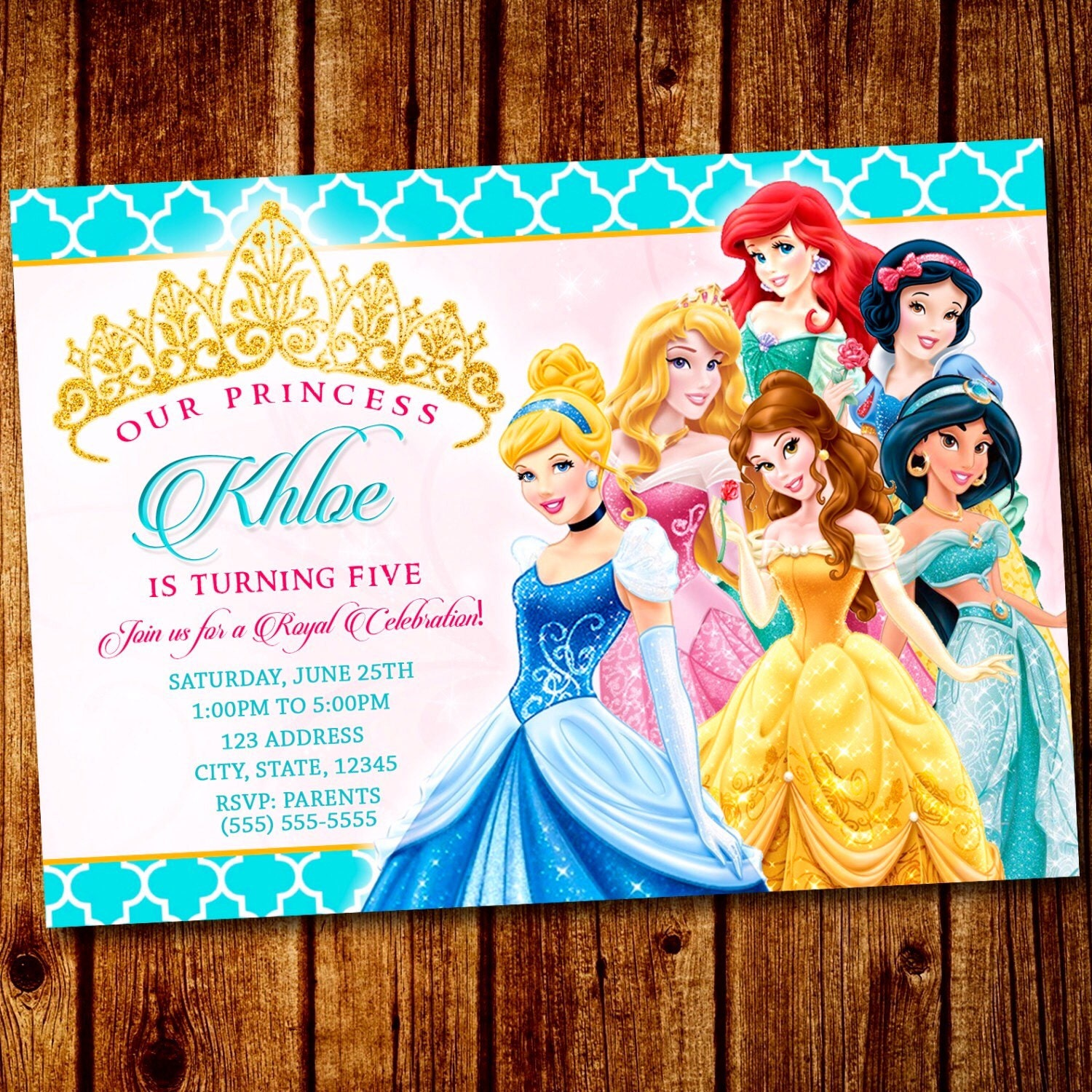Princess party Princess Invitation Disney Princess Party