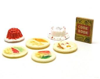 Vintage Dollhouse Food, Plates of Food, Cakes, Cookbook, Miniature, Kitchen, Baking, Plastic, Mini, Miniaturist, Hobby, 1:12 Scale, c1970