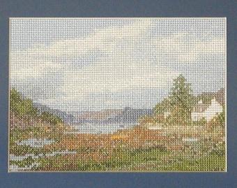 Plockton - a Scottish Highlands landscape cross stitch embroidery chart
