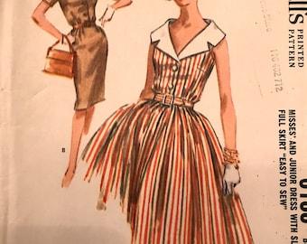 Pretty 1960's Shirtwaist Dress With Slim or Full Skirt---McCalls 6188---Size 16  Bust 36