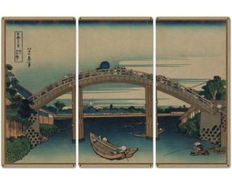 "Beneath Mannen Bridge, Mount Fuji, Fukagawa Mannenbashi Shita, 1826, Triptych Metal Sign, Oriental, Chinese,  Wall Decor, Wall Art 54""x36"""