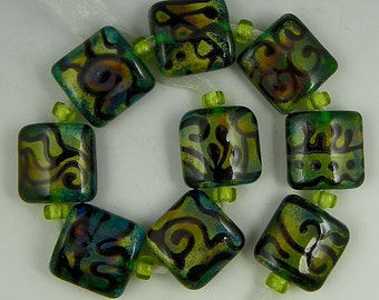 handmade lampwork glass bead set of 9 square or nugget beads in dark green & color-shifting Raku glass - Doodle Me This